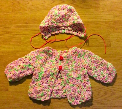 Pink Baby Jacket with Bonnet